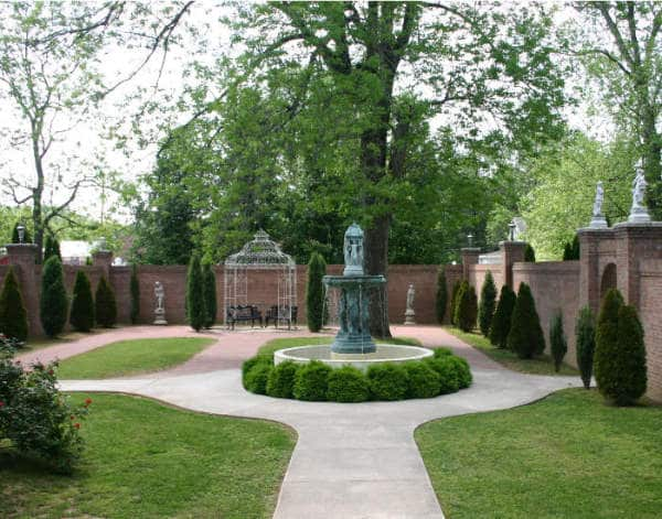 The courtyard at Falcon Rest Mansion is a highlight of its gardens