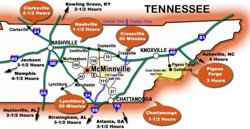 Day trip between Nashville and Chattanooga or Knoxville, TN