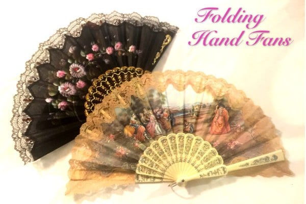 Fabric and lace folding fans in the Victorian Gift Shop at Falcon Rest Mansion in McMinnville, TN
