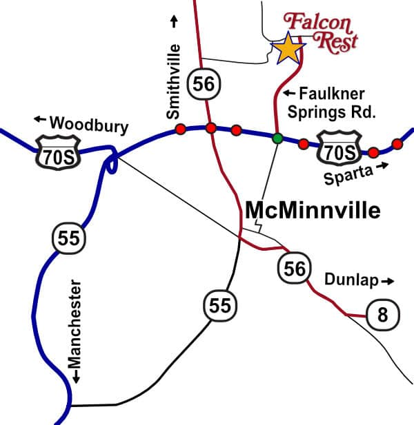 McMinnville, Tenn., map to Falcon Rest Mansion & Gardens